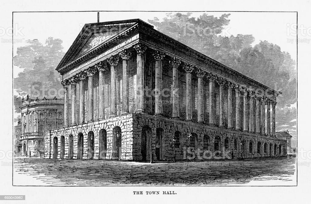 Town Hall, Birmingham, Midlands, England Victorian Engraving, 1840 vector art illustration