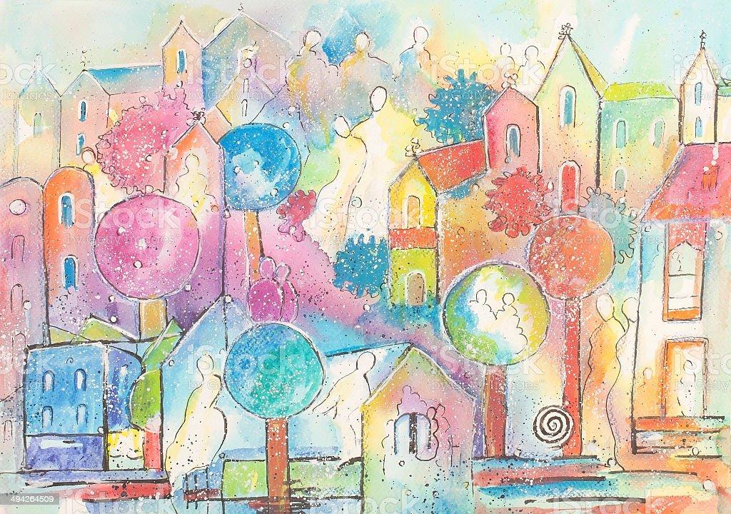 Ciudad de alegría illustracion libre de derechos libre de derechos