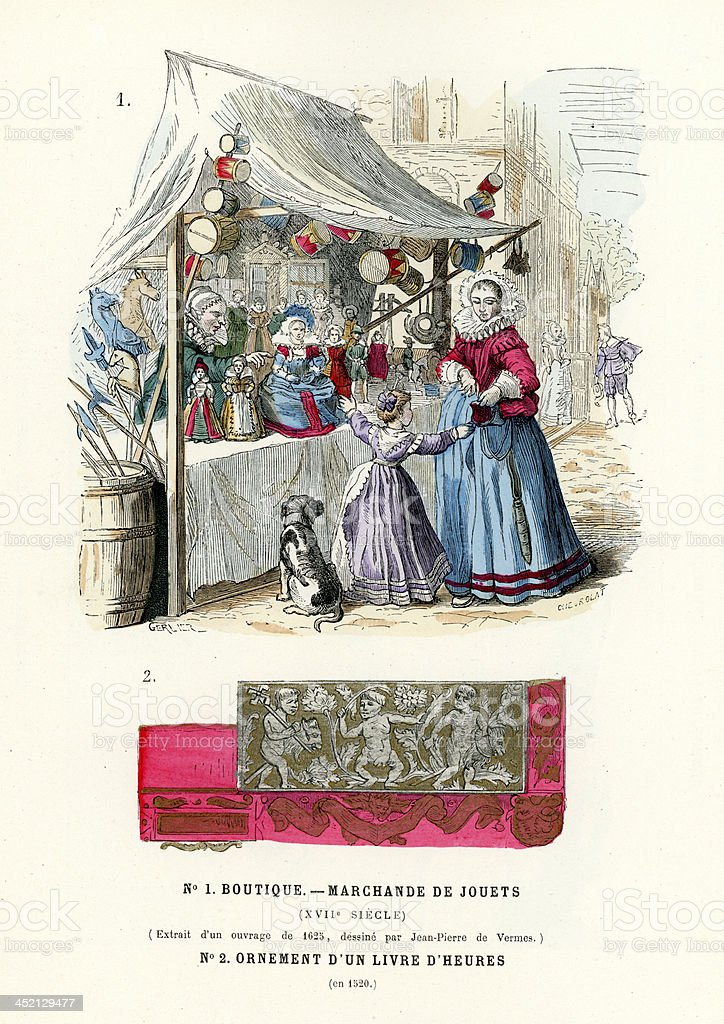Toy Shop 17th Century vector art illustration