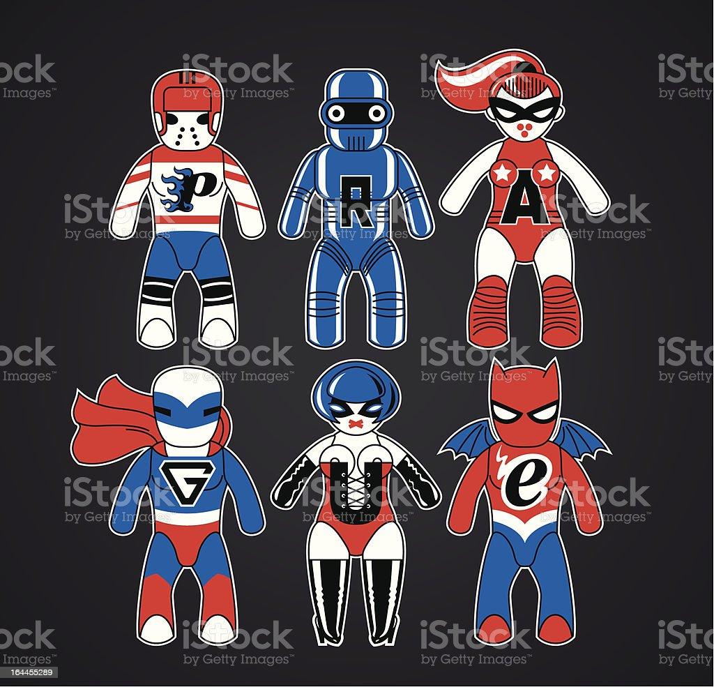 Toy superheroes royalty-free stock vector art