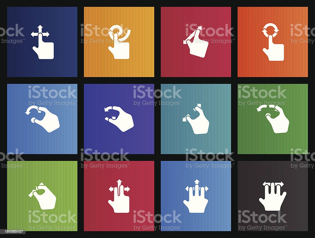 Trackpad Gestures Icons vector art illustration