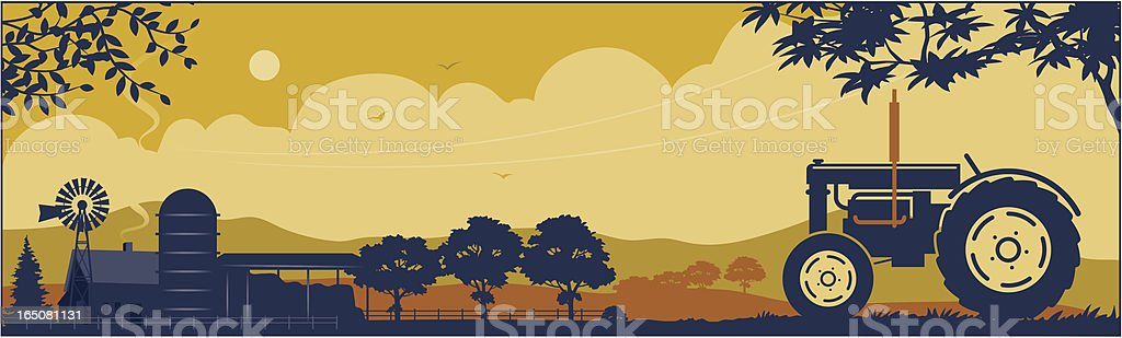 Tractor and farm vector art illustration