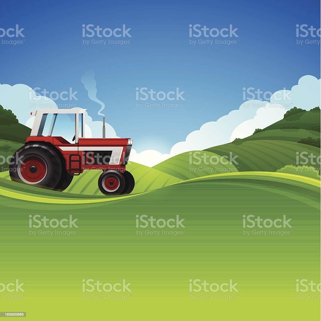 Tractor Farming Background royalty-free stock vector art