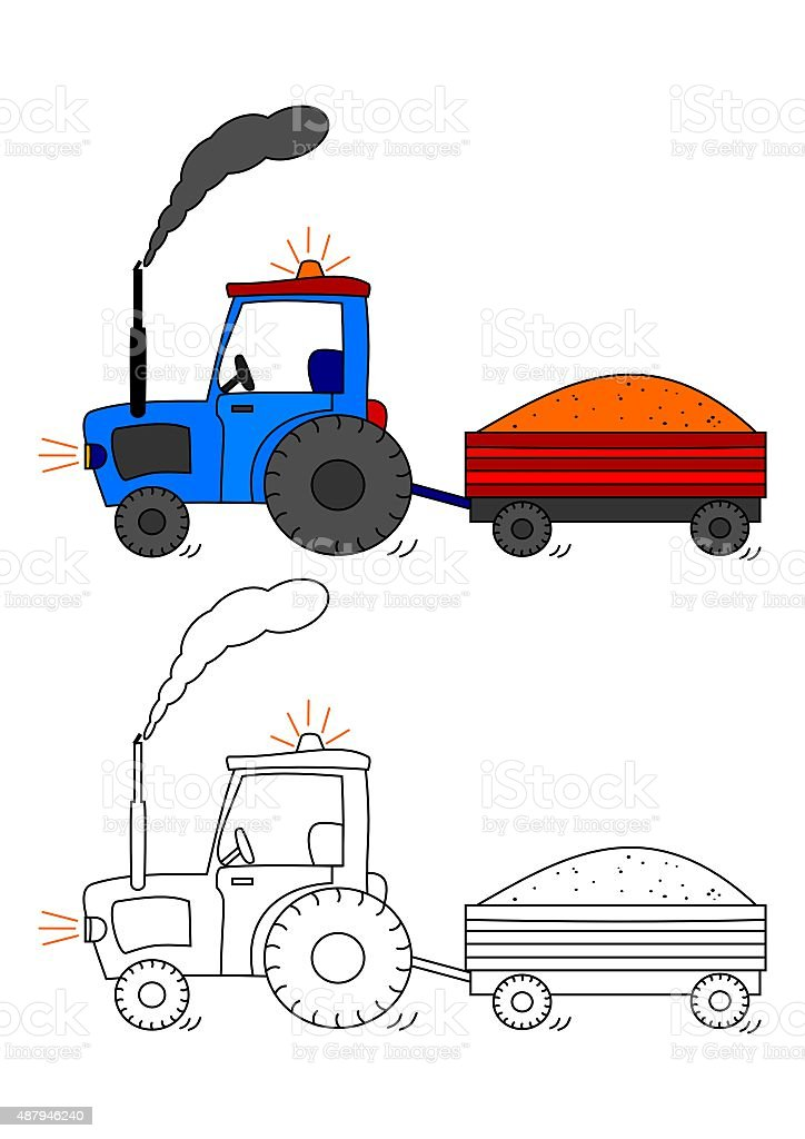 Tractor with siding - coloring book for kids vector art illustration