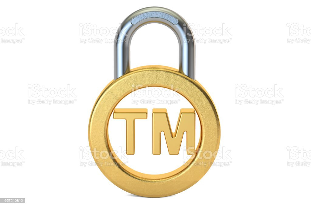 Trademark concept with padlock, 3D rendering isolated on white background stock photo