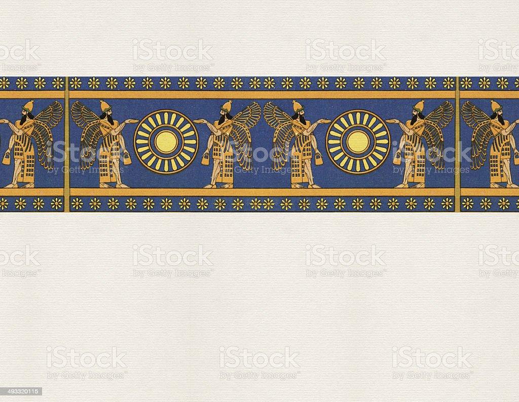 Traditional Assyrian Border vector art illustration