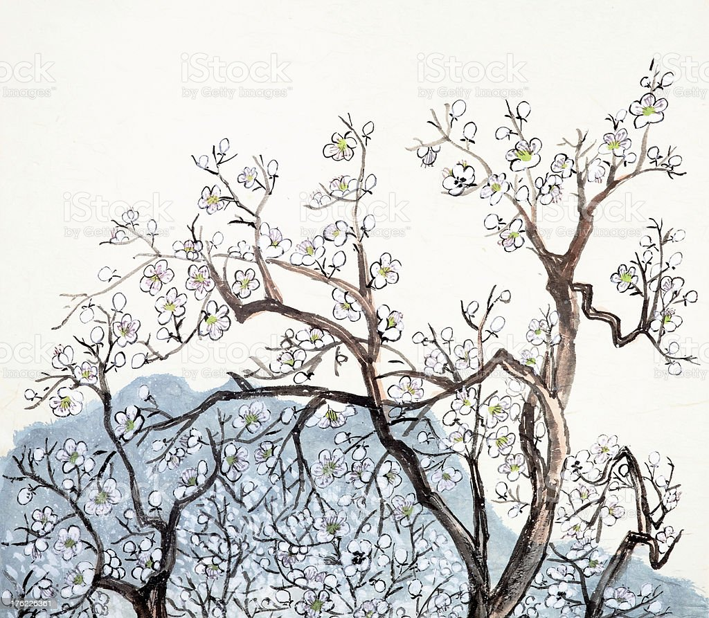 Traditional Chinese painting of plum blossom vector art illustration