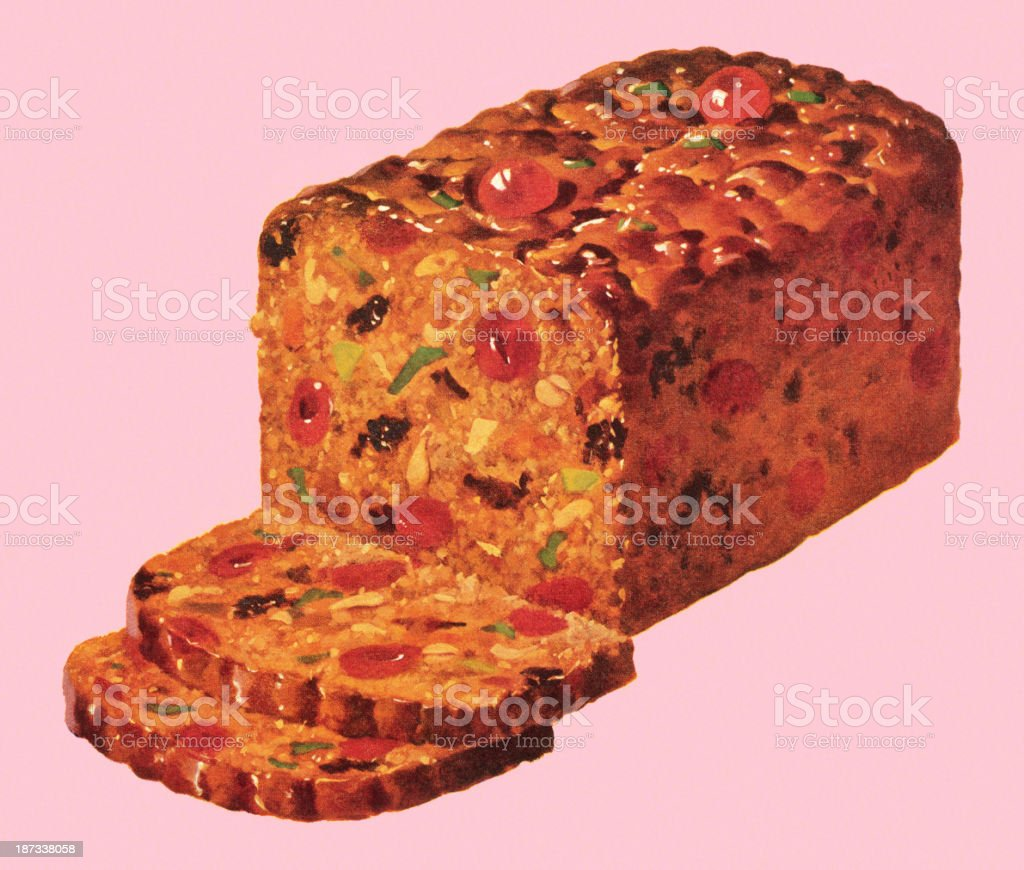 Traditional fruitcake with slices set on a pink background vector art illustration