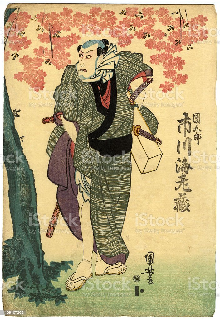 Traditional Japanese Woodblock Cherry Tree and Actor vector art illustration