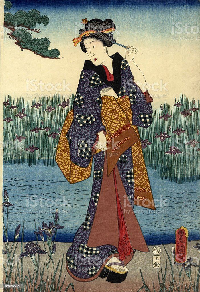 Traditional Japanese Woodblock female by pond vector art illustration