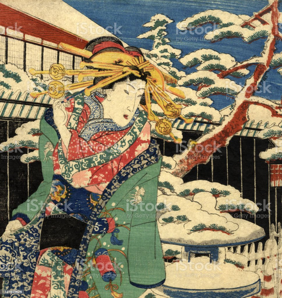 Traditional Japanese Woodblock female in the snow vector art illustration