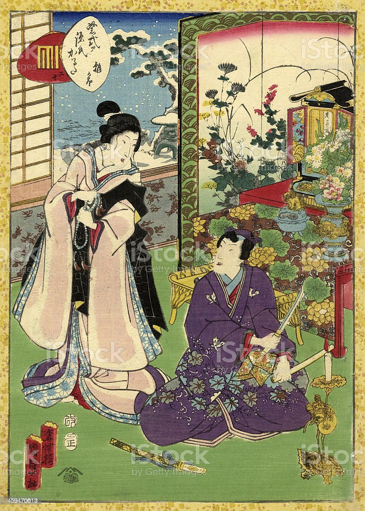 Traditional Japanese Woodblock of a couple in room vector art illustration