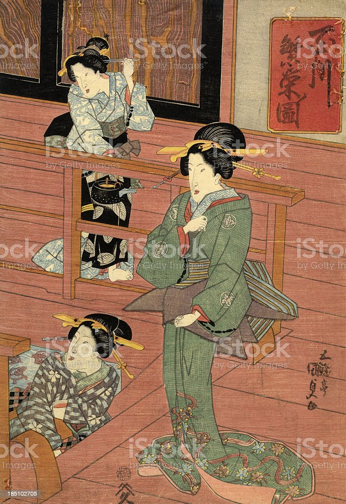 Traditional Japanese Woodblock of a women in room royalty-free stock vector art