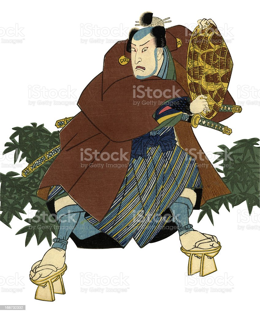 Traditional Japanese Woodblock print of Actor vector art illustration