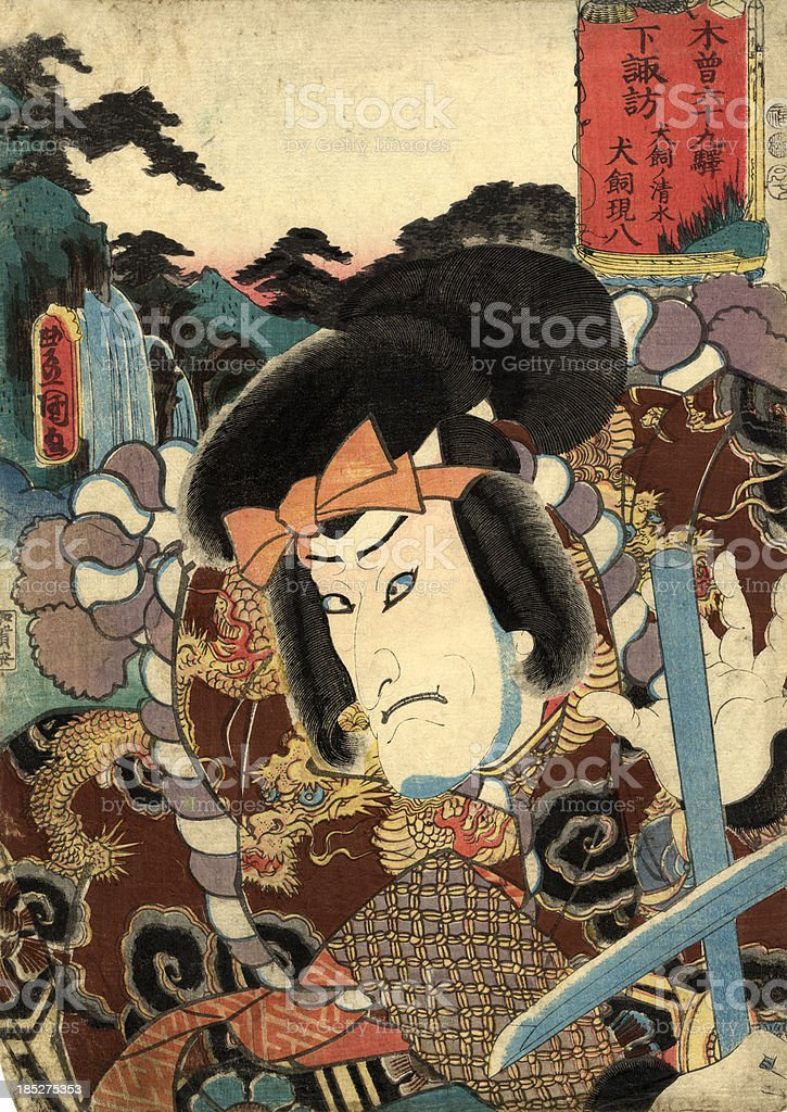 Traditional Japanese Woodblock print of Actor royalty-free stock vector art