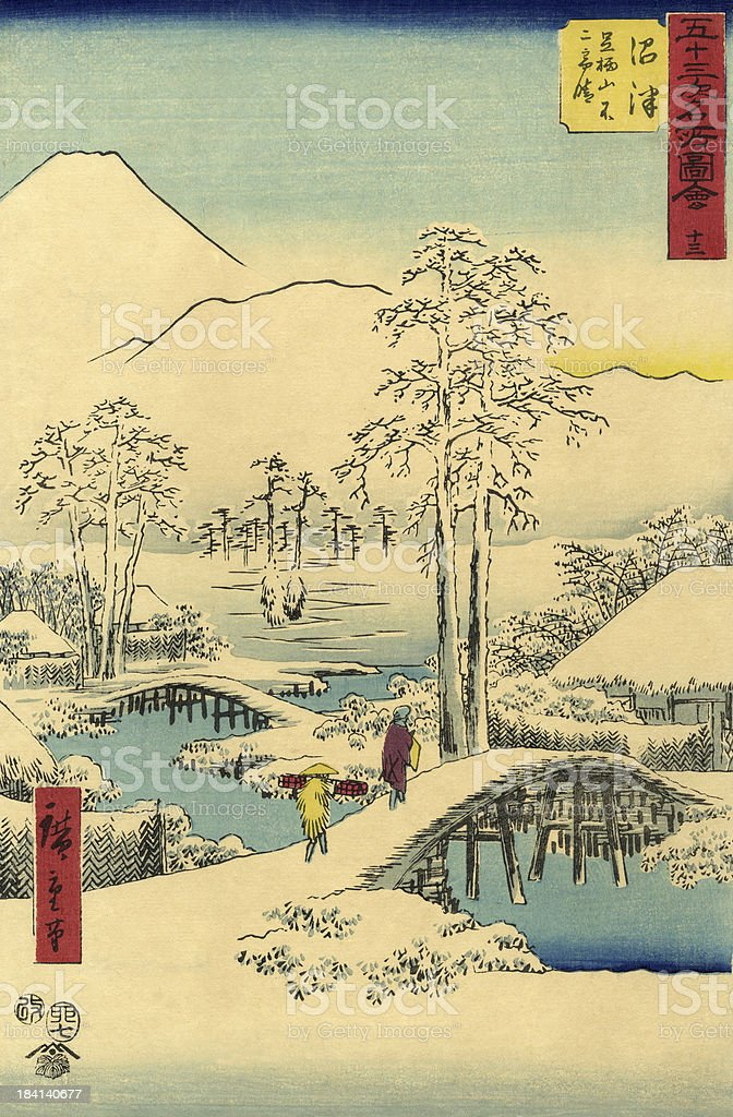 Traditional Japanese Woodblock snow scene vector art illustration