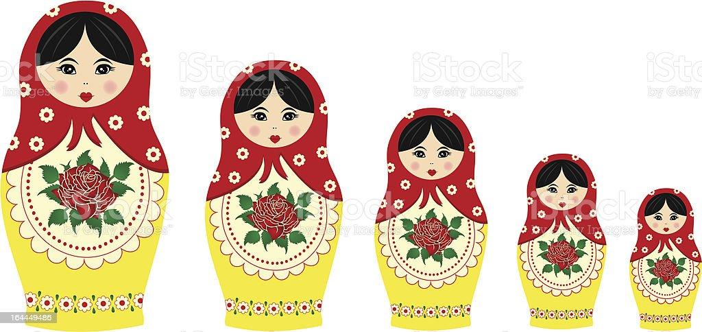 Traditional matryoschka dolls vector art illustration