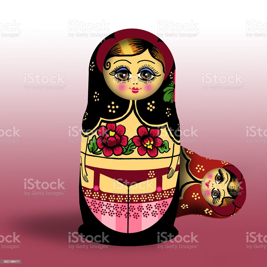 Traditional Russian Doll illustration royalty-free stock vector art