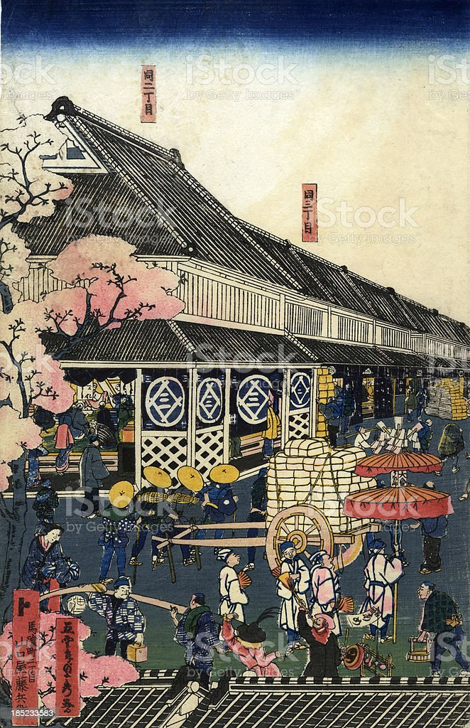 Traditional Sadahide Japanese Woodblock print of Tokyo royalty-free stock vector art