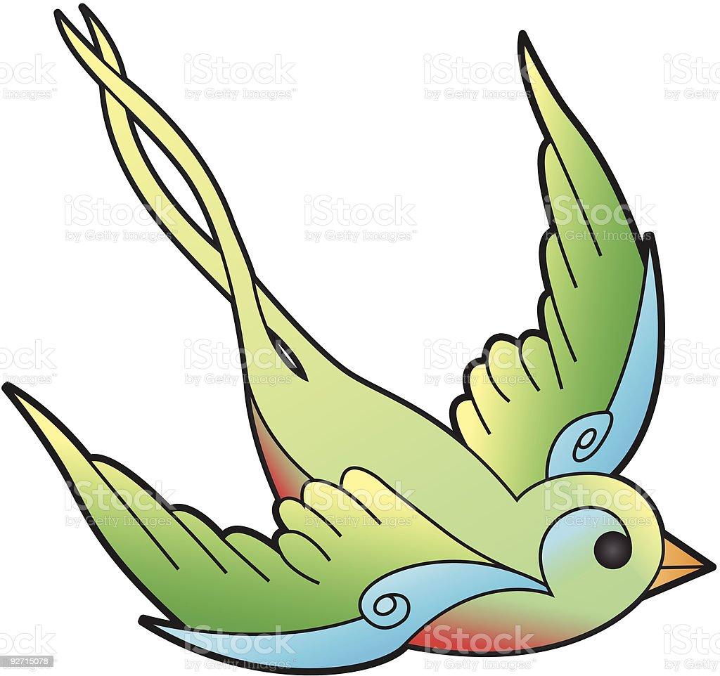 Traditional Swallow Tattoo Illustration (Freedom) vector art illustration