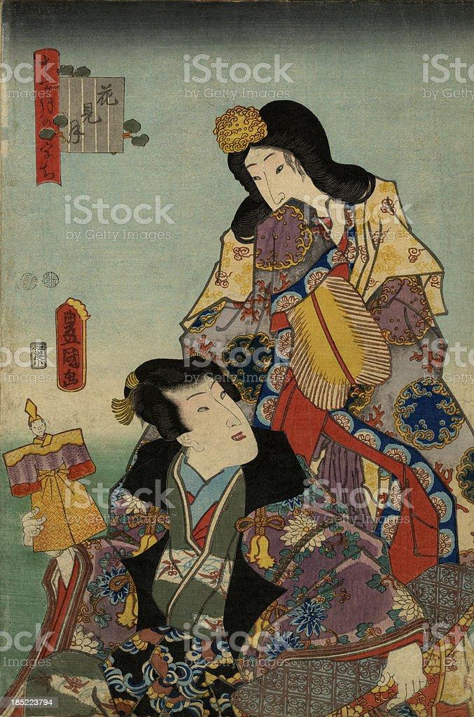 Traditional Toyokuni Japanese Woodblock print of Geisha's royalty-free stock vector art