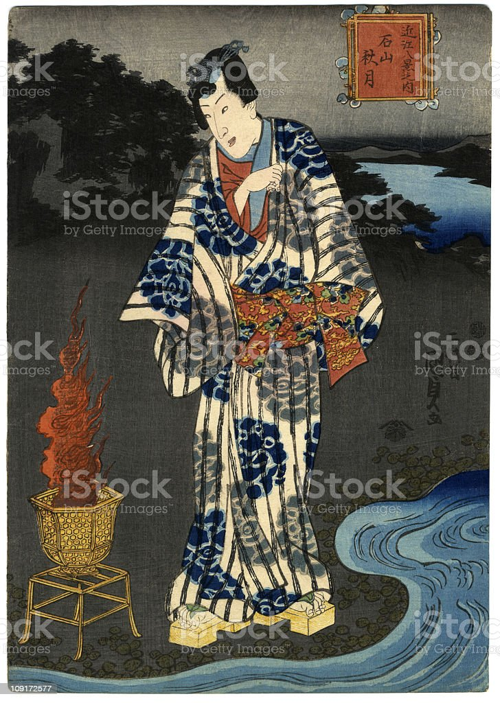 Traditional woodblock print of a man by water royalty-free stock vector art