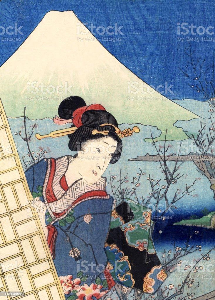 Traditional Woodblock Print Woman and Mount Fuji vector art illustration
