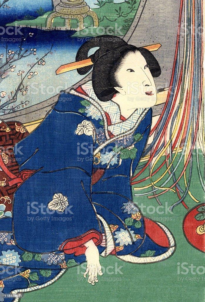 Traditional Woodblock Print Woman Kneeling royalty-free stock vector art