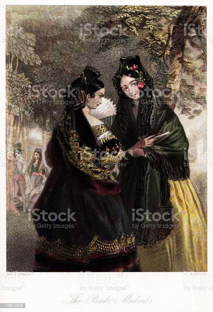 Traditionally Spanish women royalty-free stock vector art