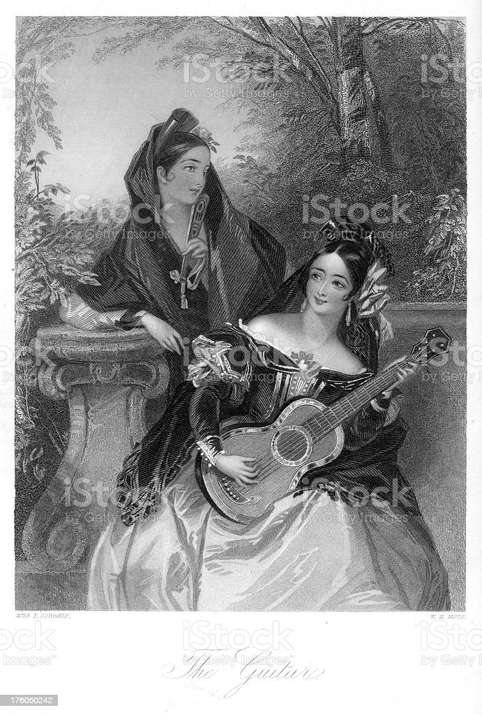 Traditionally Spanish women playing the guitar royalty-free stock vector art
