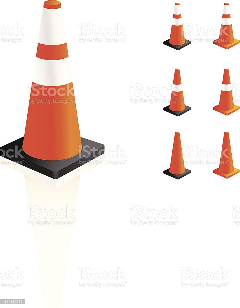 Traffic Safety cone icon set royalty-free stock vector art