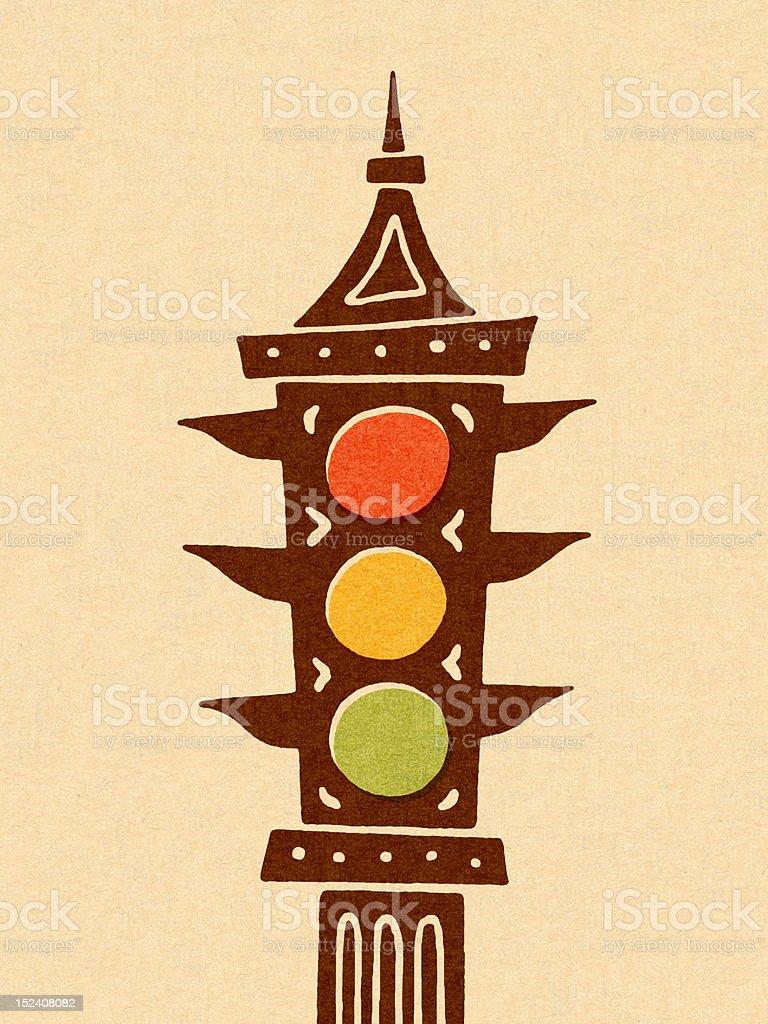 Traffic Signal on Post royalty-free stock vector art