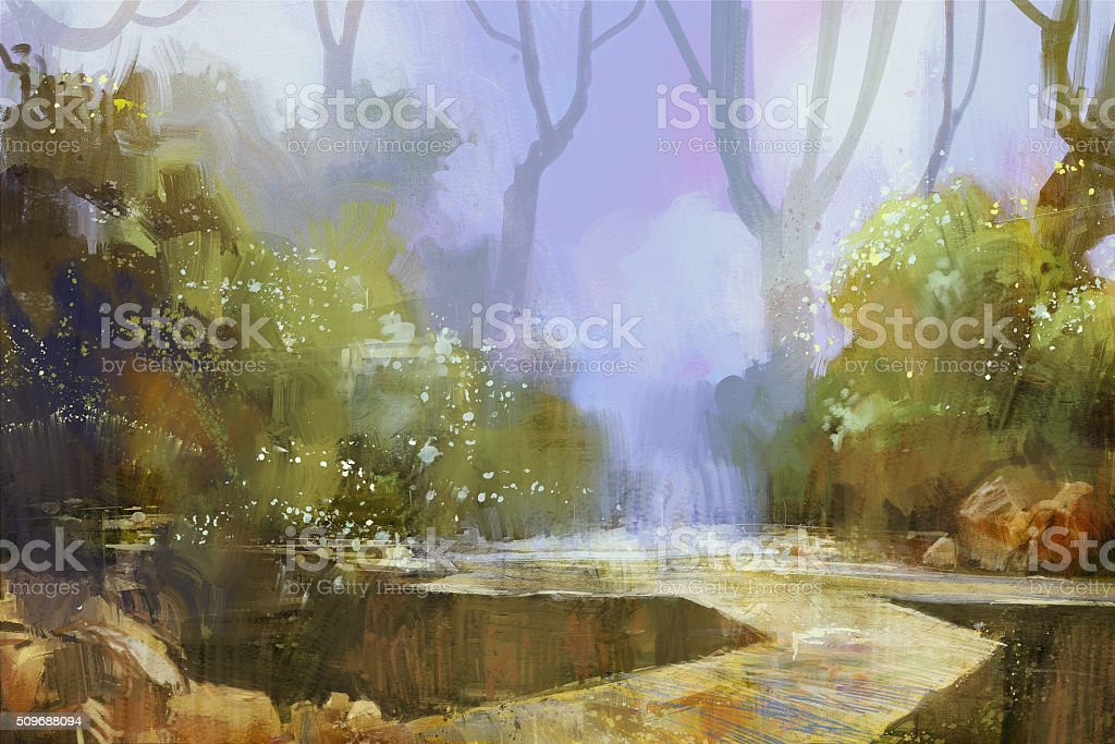trail in misty forest background vector art illustration