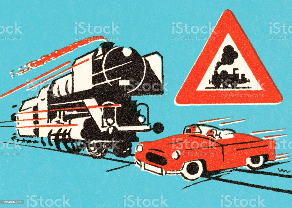 Train approaching red car on tracks vector art illustration