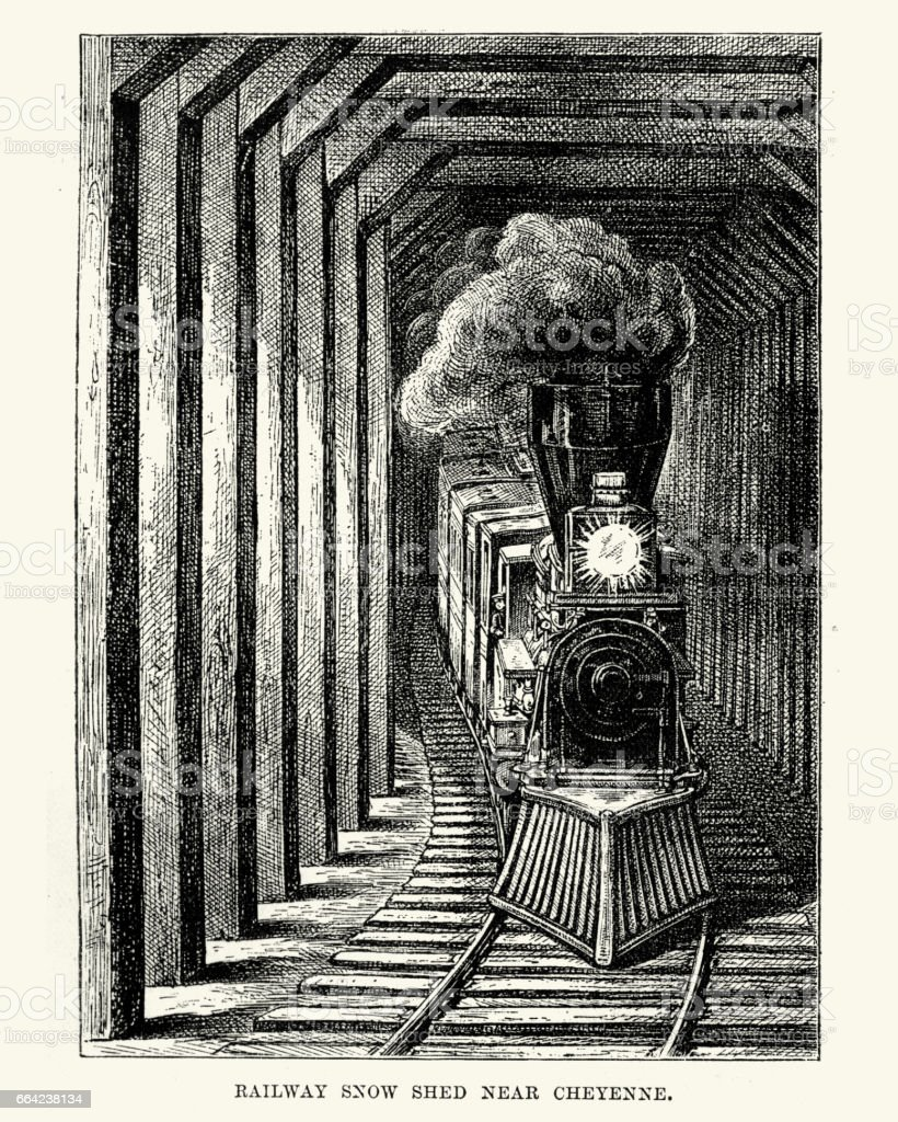 Train in a Railway Snow Shed near Cheyenne 19th Century vector art illustration