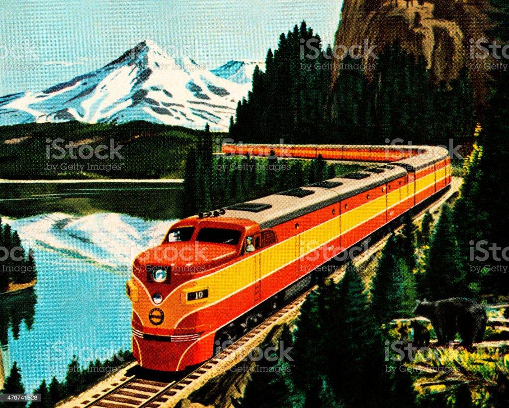 Train in the Mountians vector art illustration