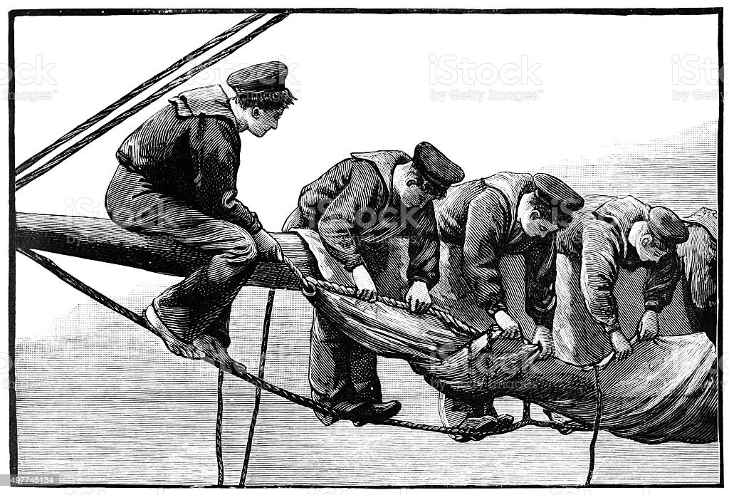 Trainee sailors furling a sail (Victorian engraving) vector art illustration