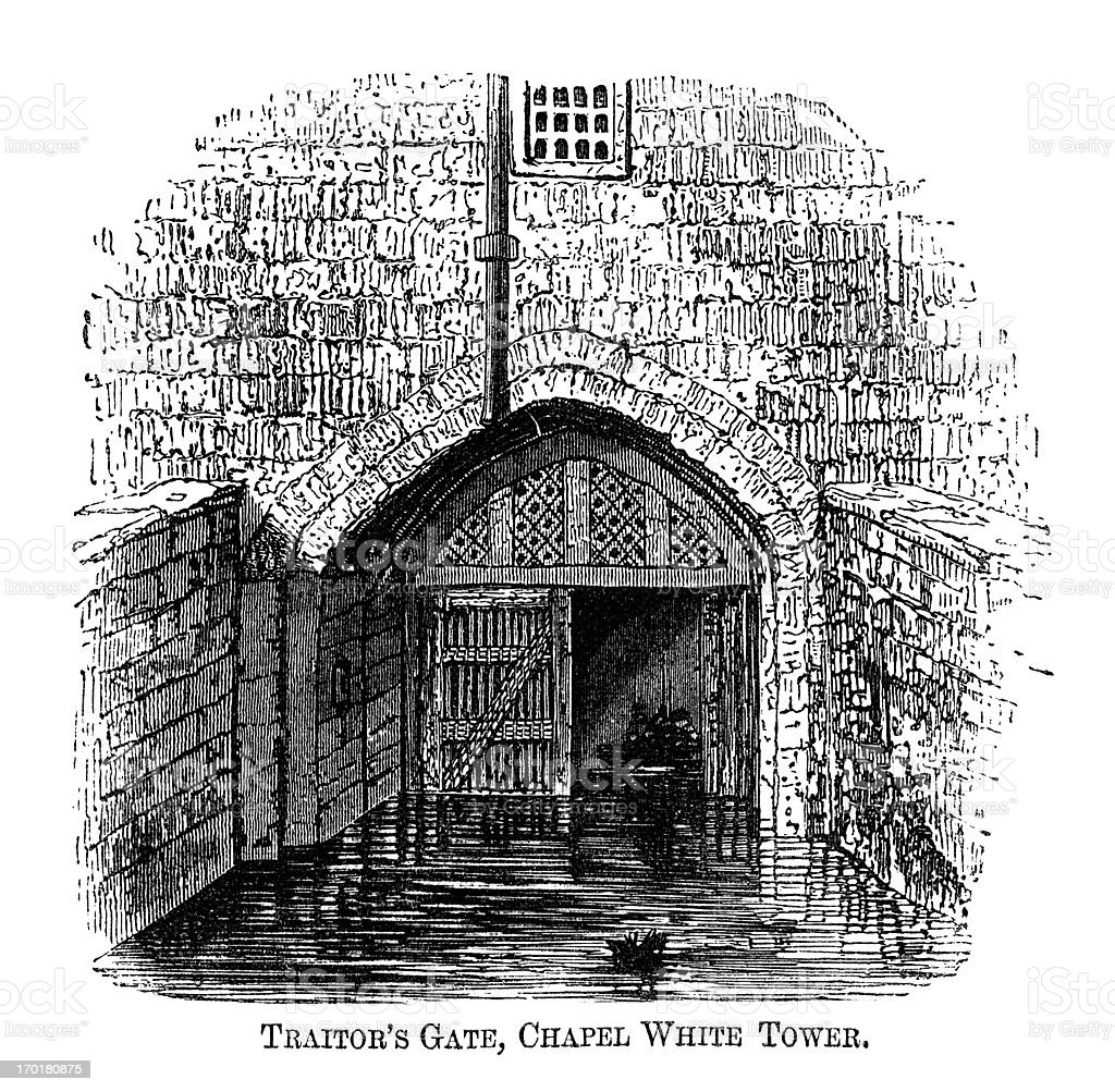 Traitor's Gate, Tower of London (1871 engraving) vector art illustration