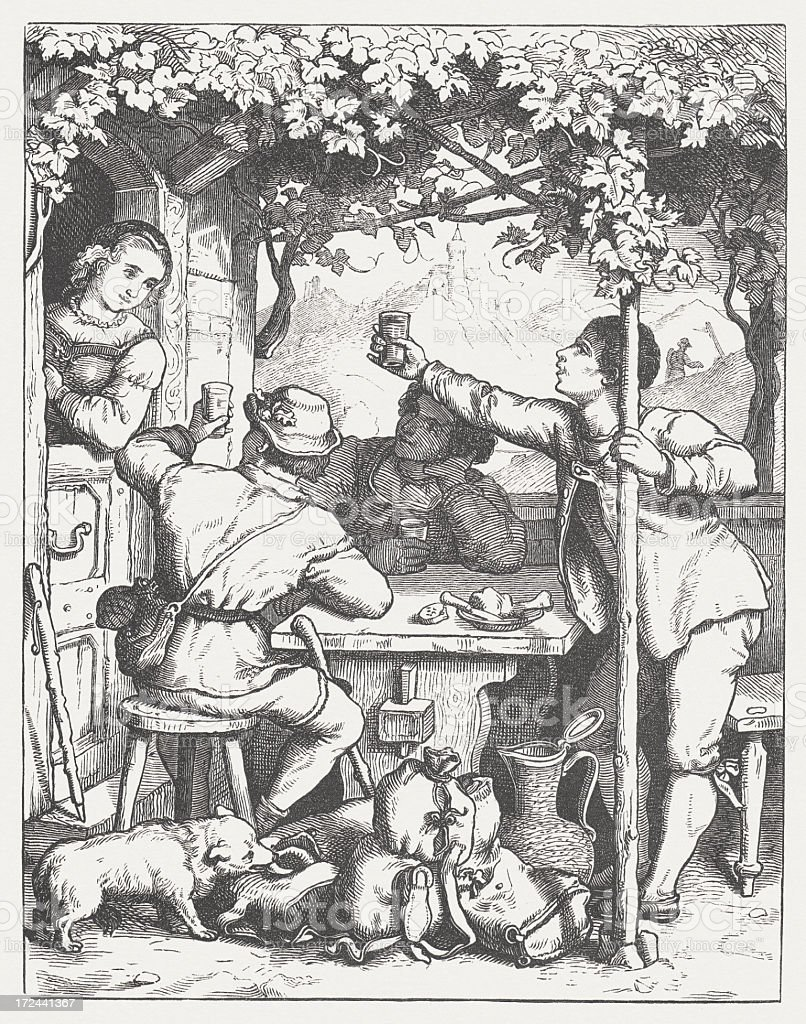 Tramps in the past, wood engraving, published in 1871 vector art illustration