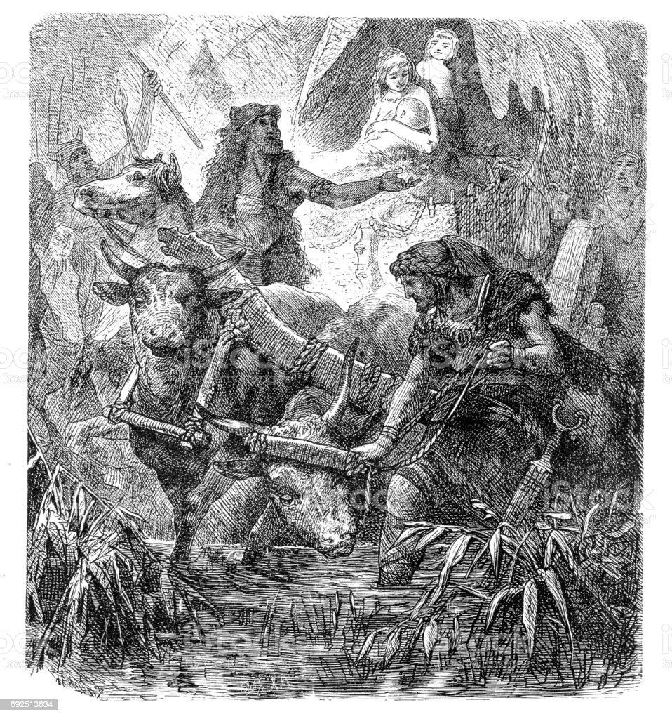 Transmigration of the Aryans vector art illustration