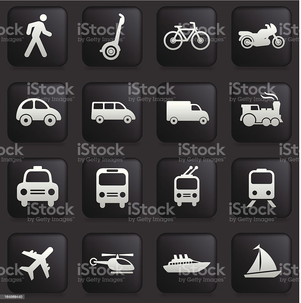 Transportation Icon Collection on Black Buttons vector art illustration