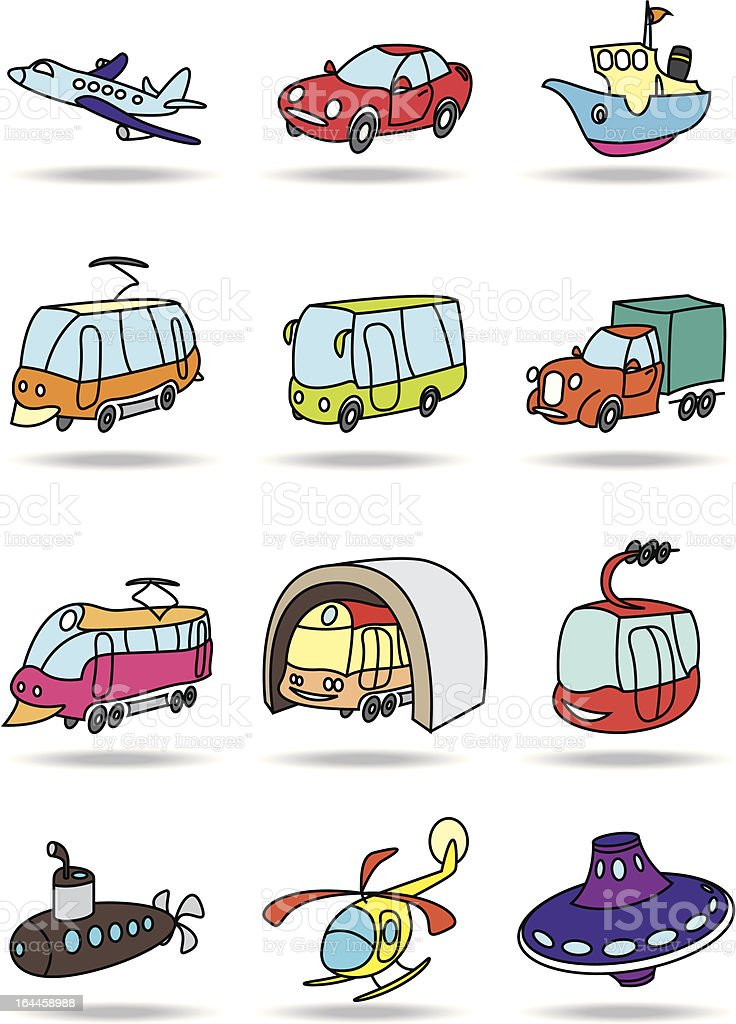 Transportation icon set royalty-free stock vector art