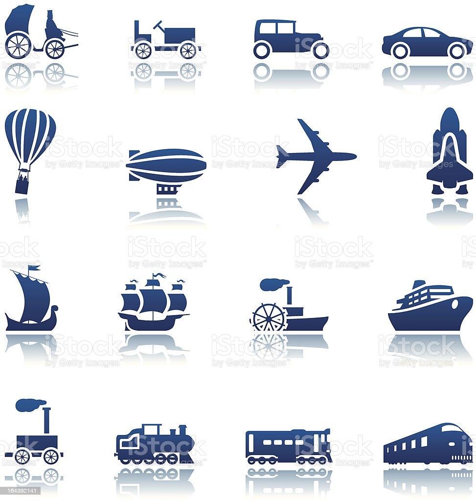 Progrès Ensemble d'icônes de transport stock vecteur libres de droits libre de droits