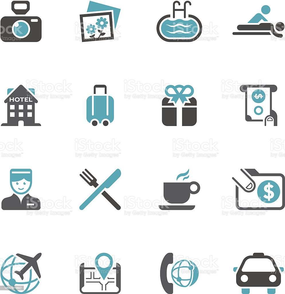 Travel & Hotel Icon Set - Concise Series vector art illustration