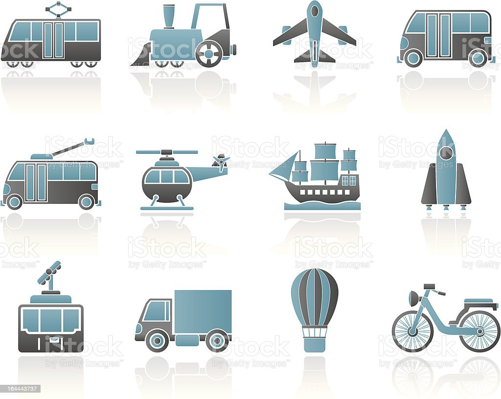 Travel and transportation icons royalty-free stock vector art