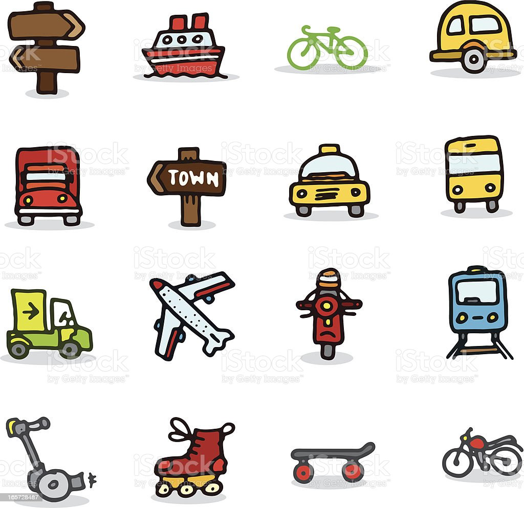 Travel and vehicle icons royalty-free stock vector art