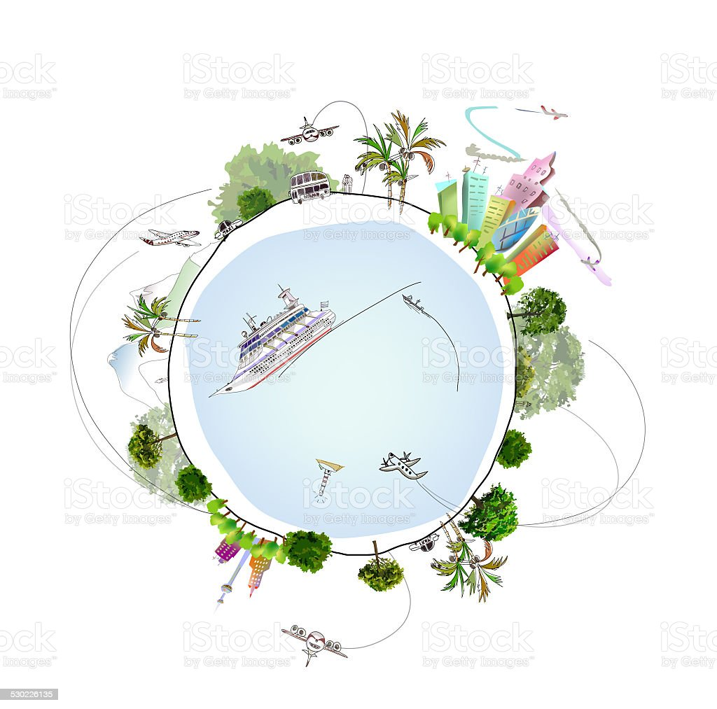 Travel around of planet illustration vector art illustration