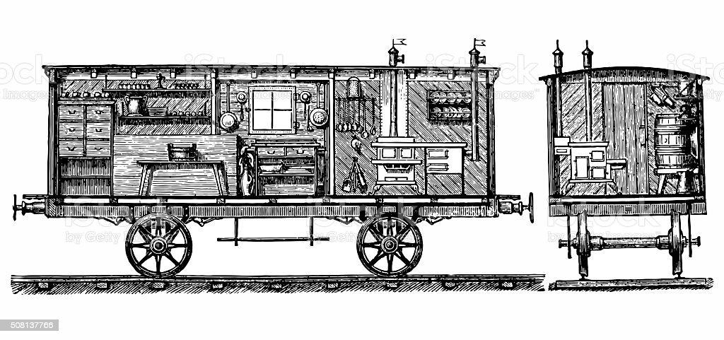 Travel cart vector art illustration