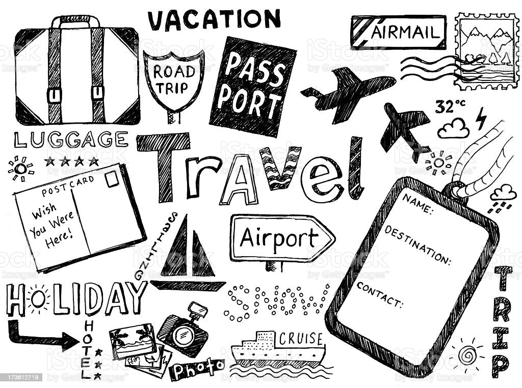 Travel doodles royalty-free stock vector art