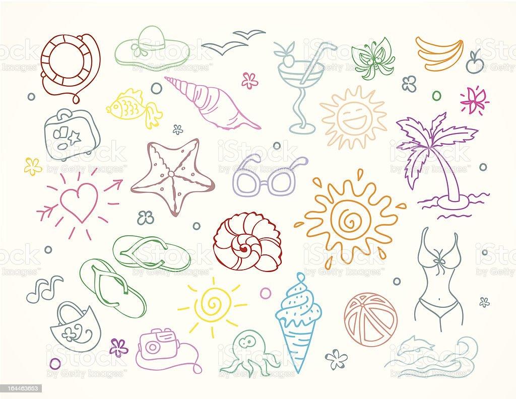 Travel doodles set royalty-free stock vector art